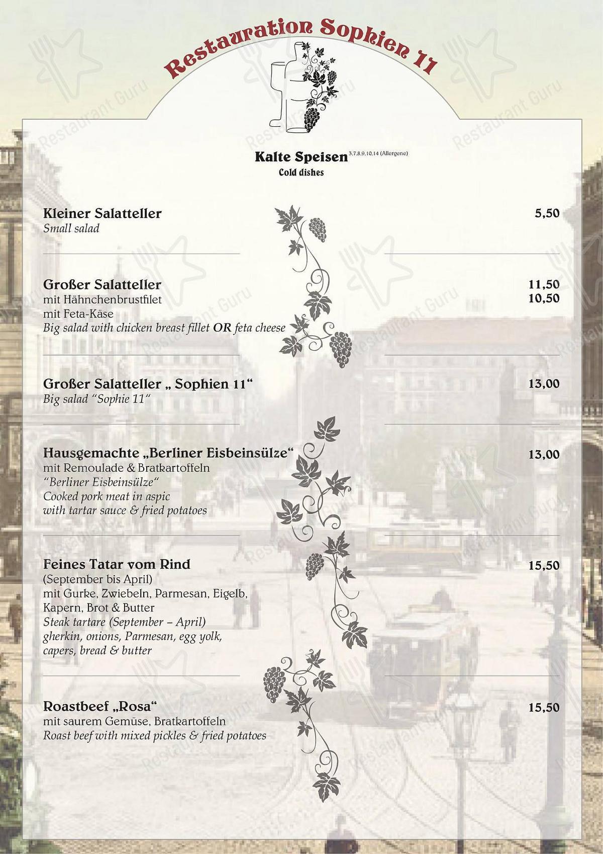 Sophien 11 menu