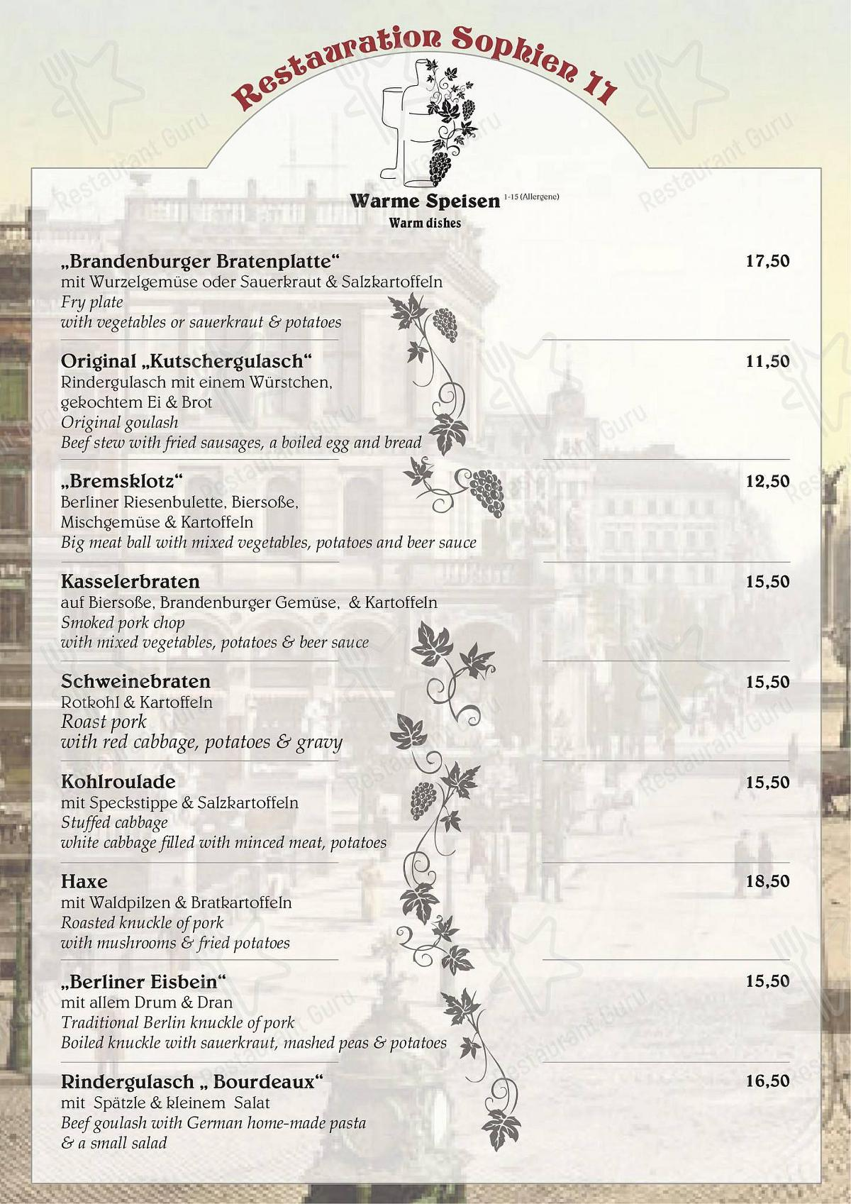 Check out the menu for Sophien 11