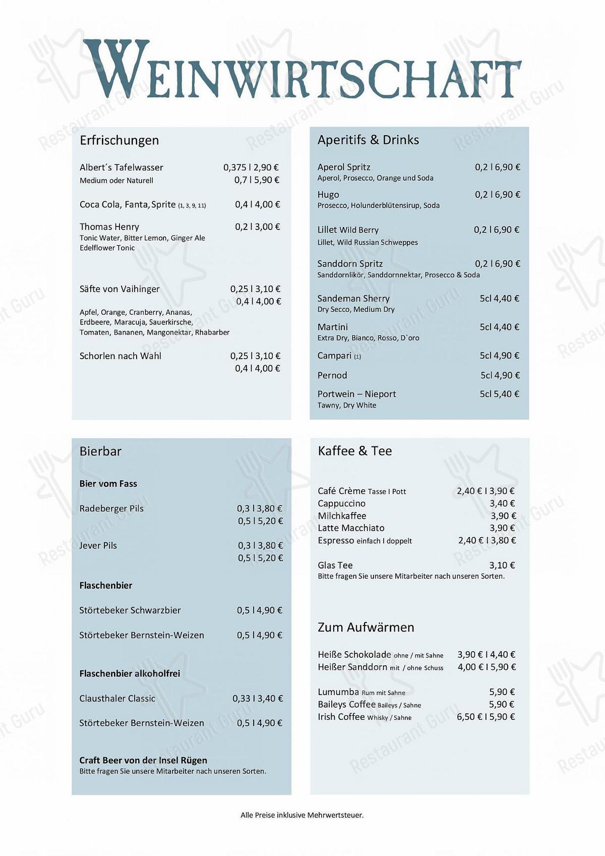 Menu pour Weinwirtschaft pub et bar
