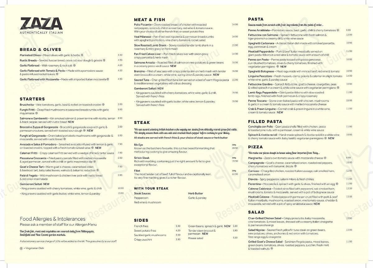 Check out the menu for Zaza