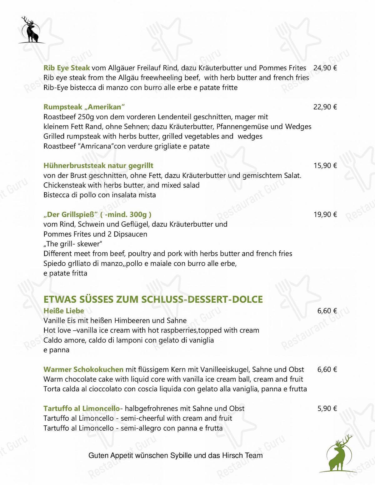 Speisekarte von Zum Hirsch restaurant