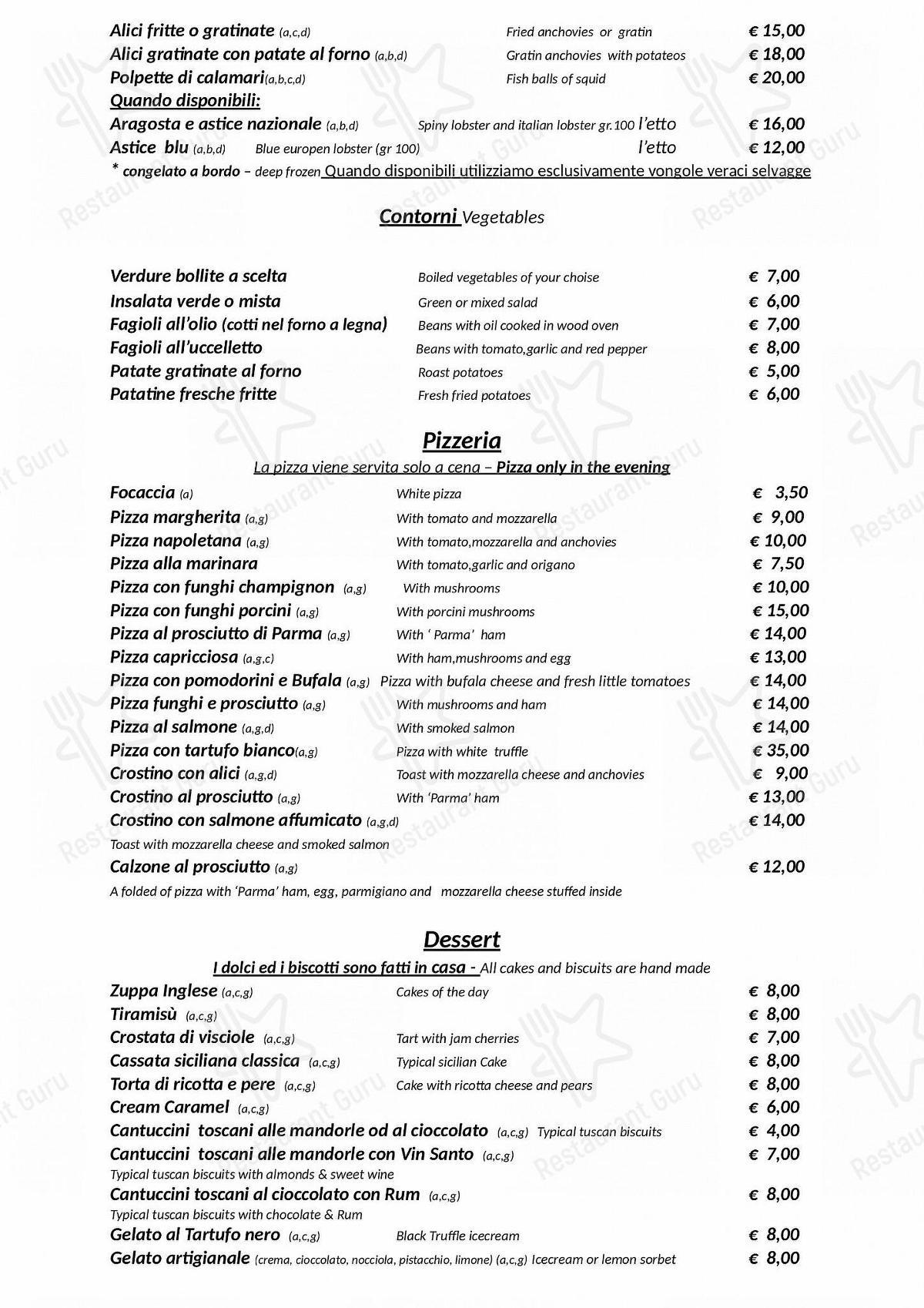 MENU take away per Hostaria-Pizzeria da Cesare in Roma