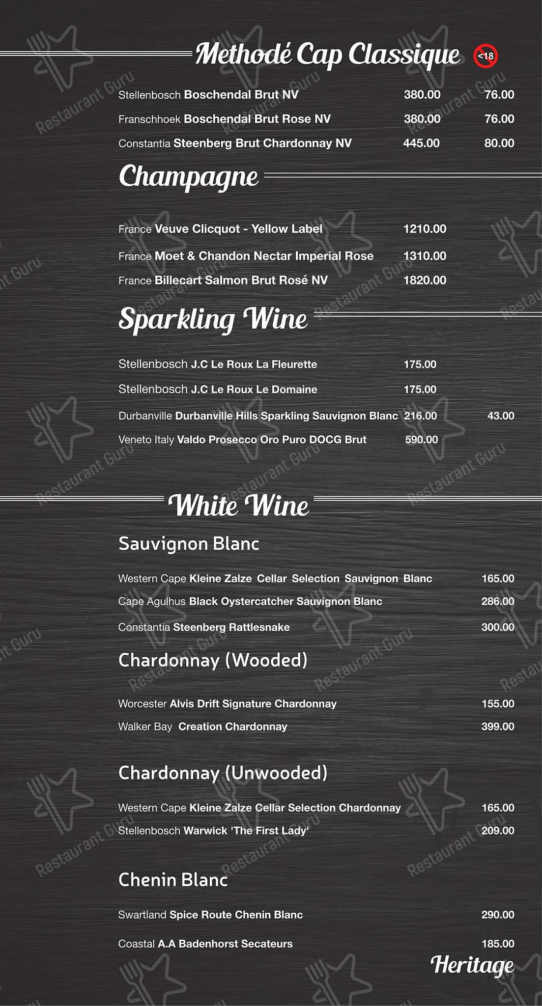 Wine Menu for the Mike's Kitchen restaurant