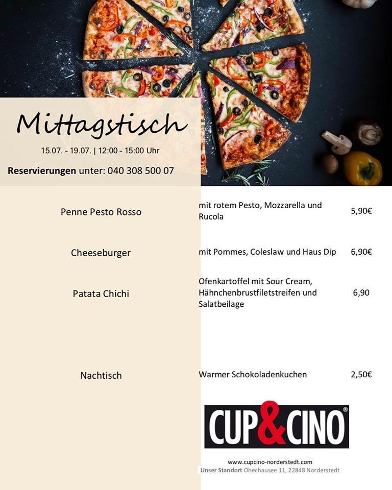Die Werbung zeigt Informationen über Cup & Cino