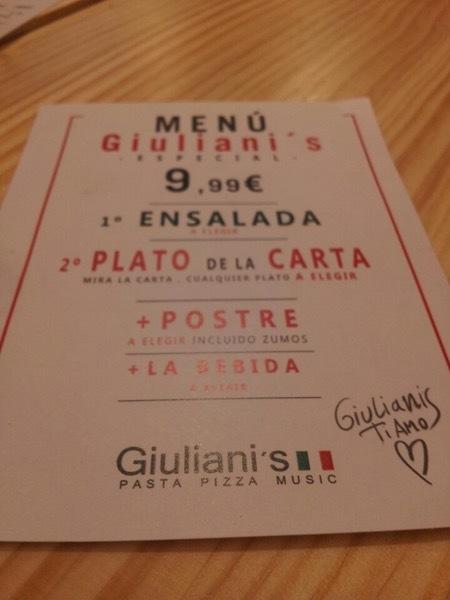 El anuncio muestra información sobre Giuliani's