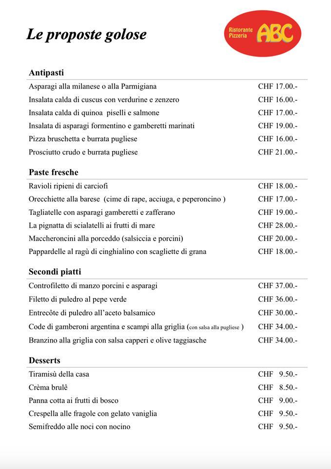 Die Liste der Speisen und Getränke findet ihr unter Ristorante-Pizzeria ABC