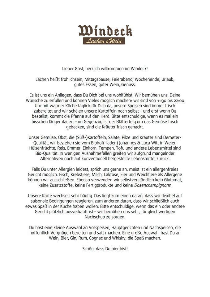 Die Werbung zeigt Informationen über Gaststätte Windeck