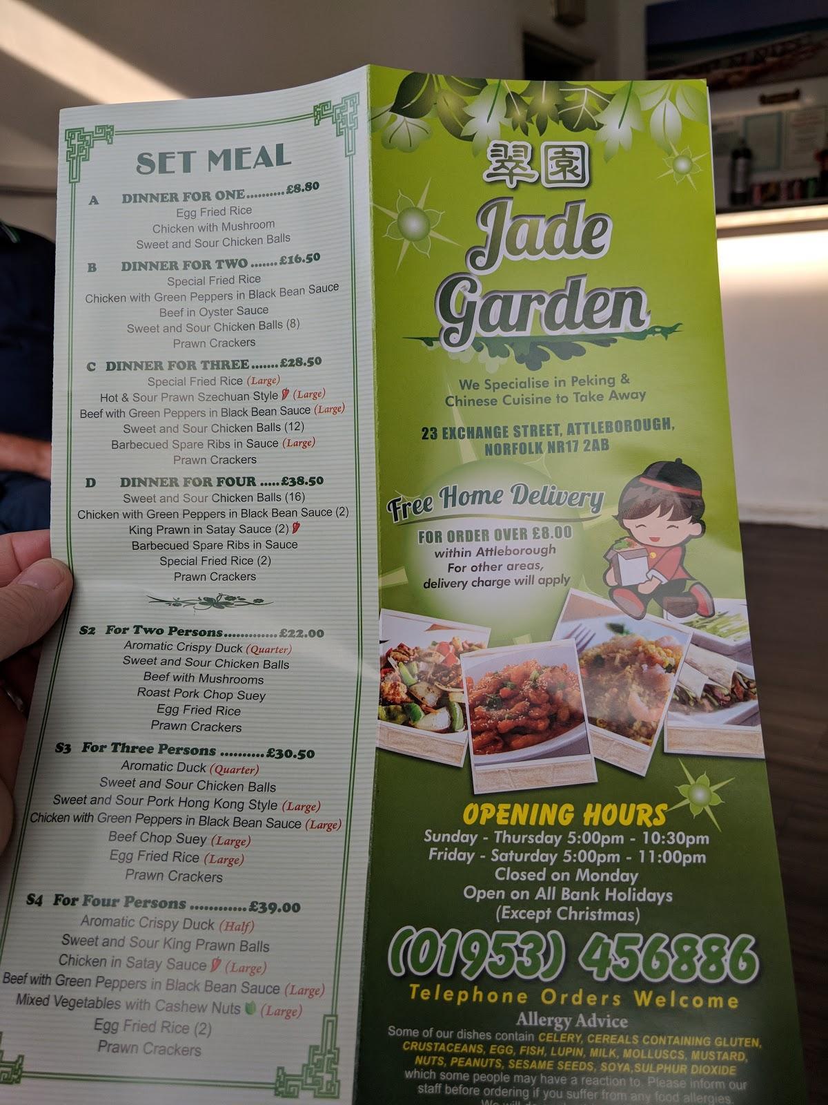 Menu At Jade Garden Restaurant Attleborough