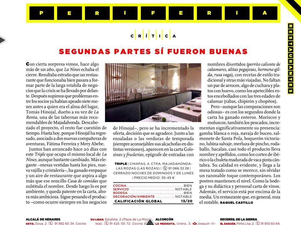El anuncio muestra información sobre TRIPLE CASA DE COMIDAS