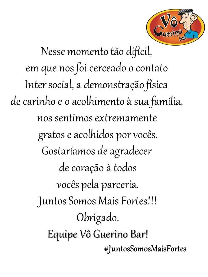 A publicidade apresenta informações sobre o Vô Guerino Bar