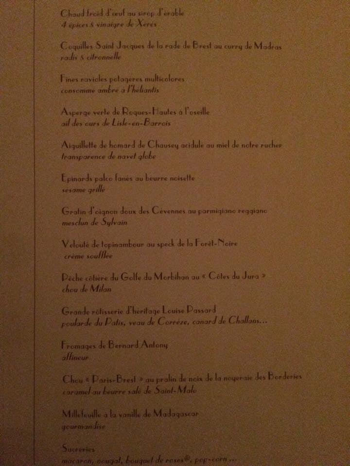 Take a look at the menu of Arpège