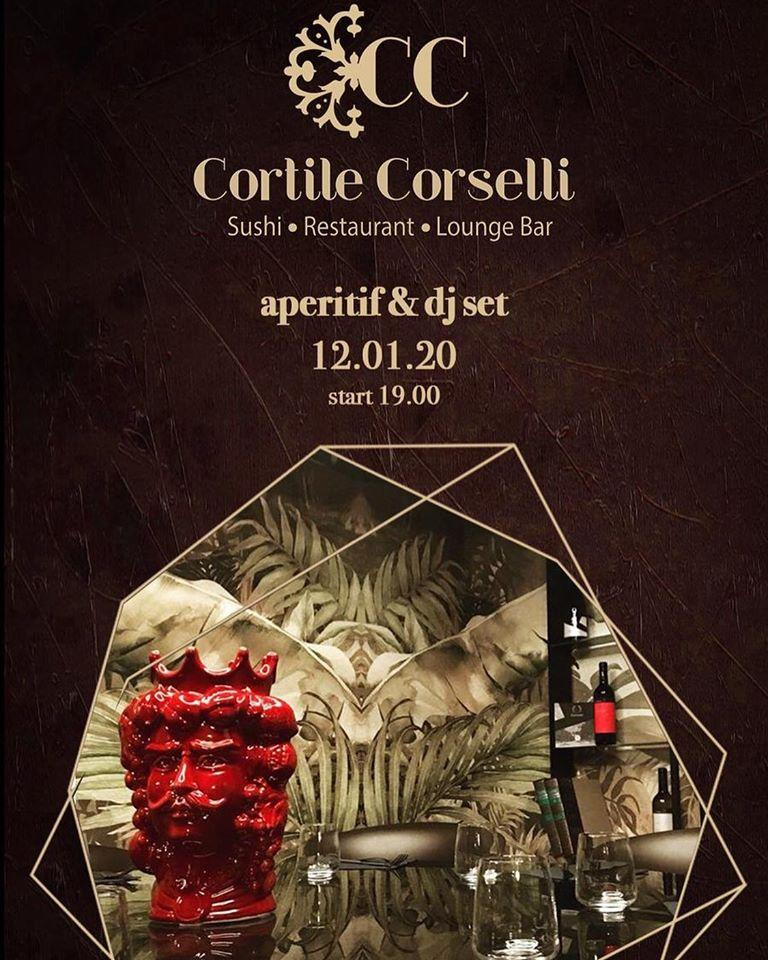 The advertisement shows information about Cortile Corselli Sushi & Restaurant