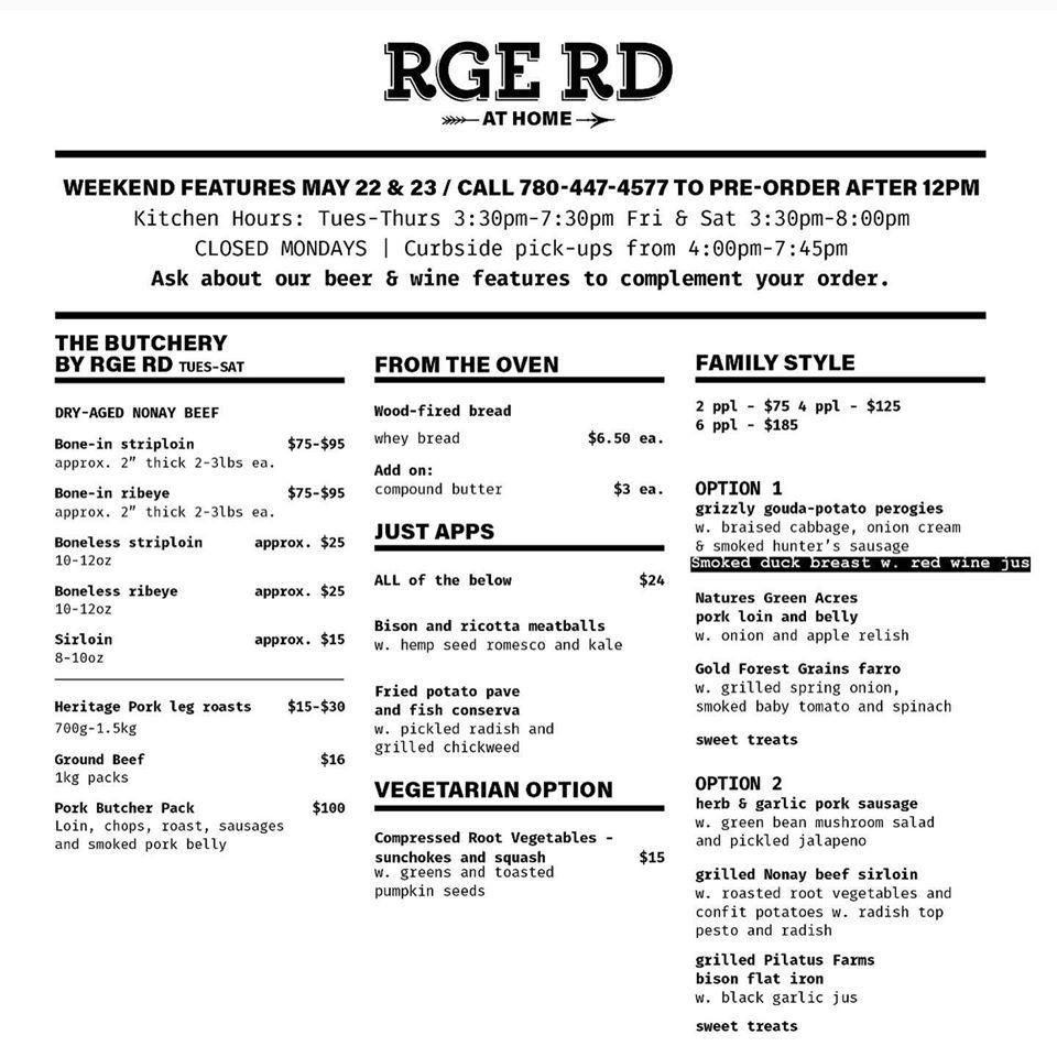La carta de platos y bebidas que se sirven en Rge Rd