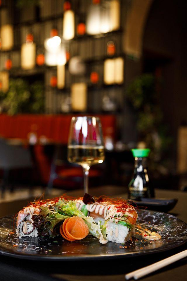 It's nice to enjoy a glass of wine at Cortile Corselli Sushi & Restaurant