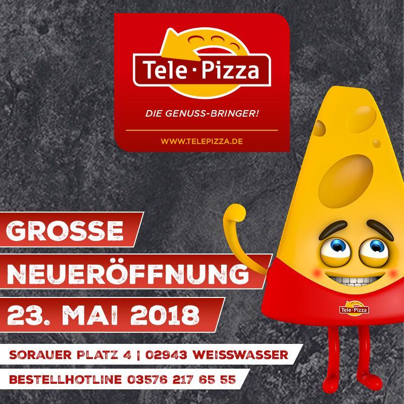 Die Werbung zeigt Informationen über Tele Pizza