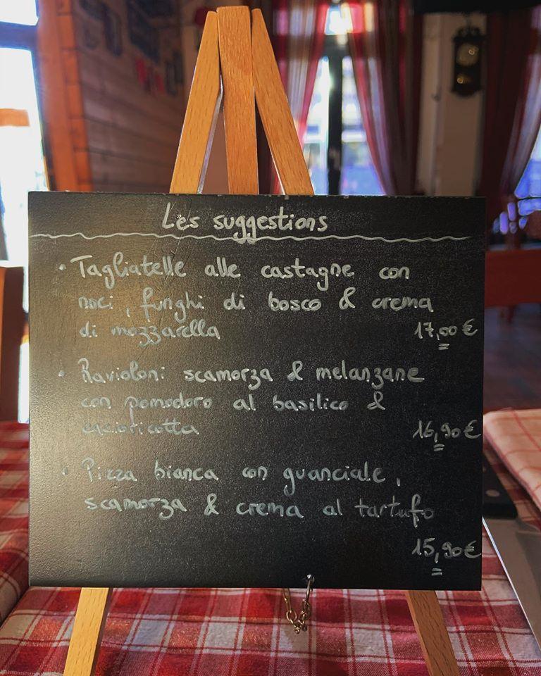 La carte des repas et breuvrages disponibles à Ristorante Pizzeria La Taverna