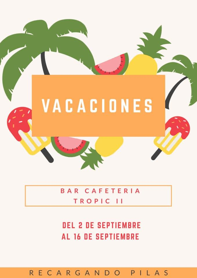 The advertisement displays information about Bar Cafetería Tropic II