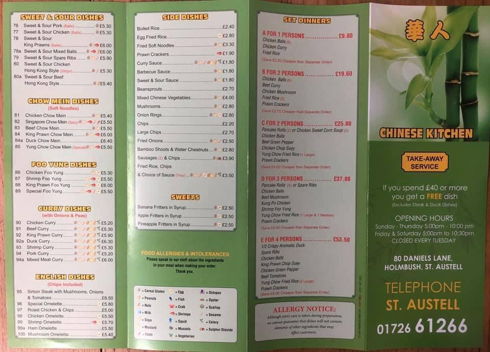 Carta De Comida Rápida Chinese Kitchen St Austell 80 Daniels Ln