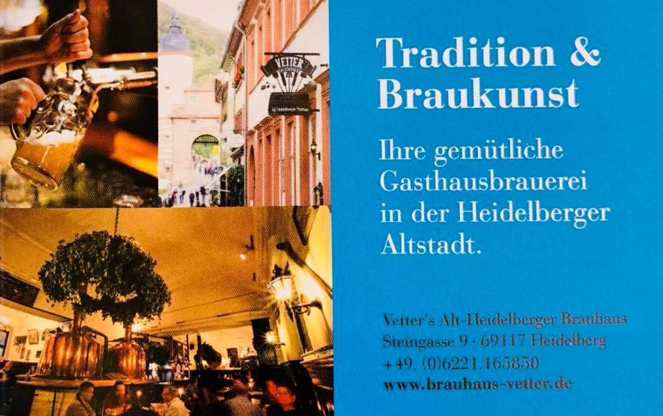 El anuncio te presenta información sobre Vetter's Alt Heidelberger Brauhaus