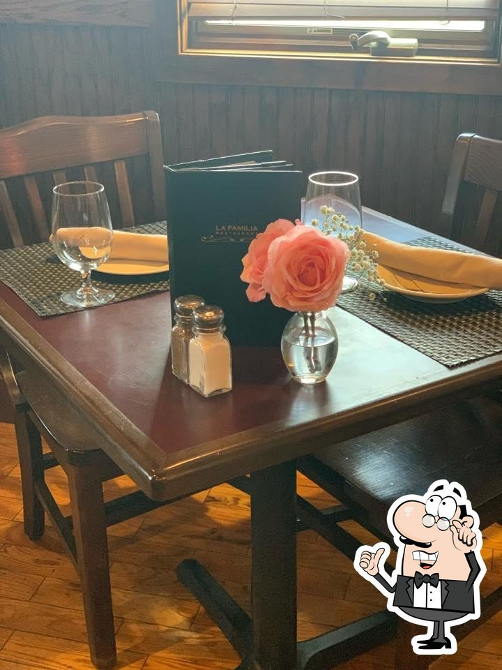 Take a seat at one of the tables at La Familia