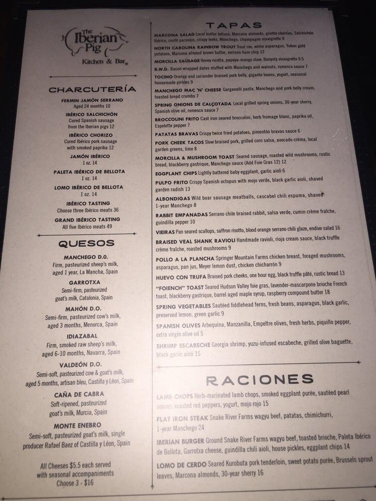 The menu offers a range of dishes