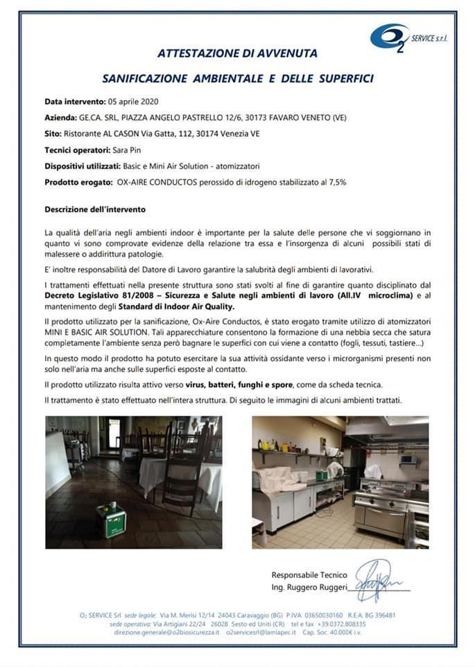 La pubblicità mostra le informazioni su Al Cason