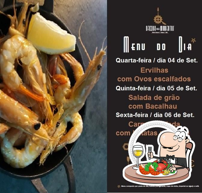 The visitors of Oficina de Momentos can order various seafood meals