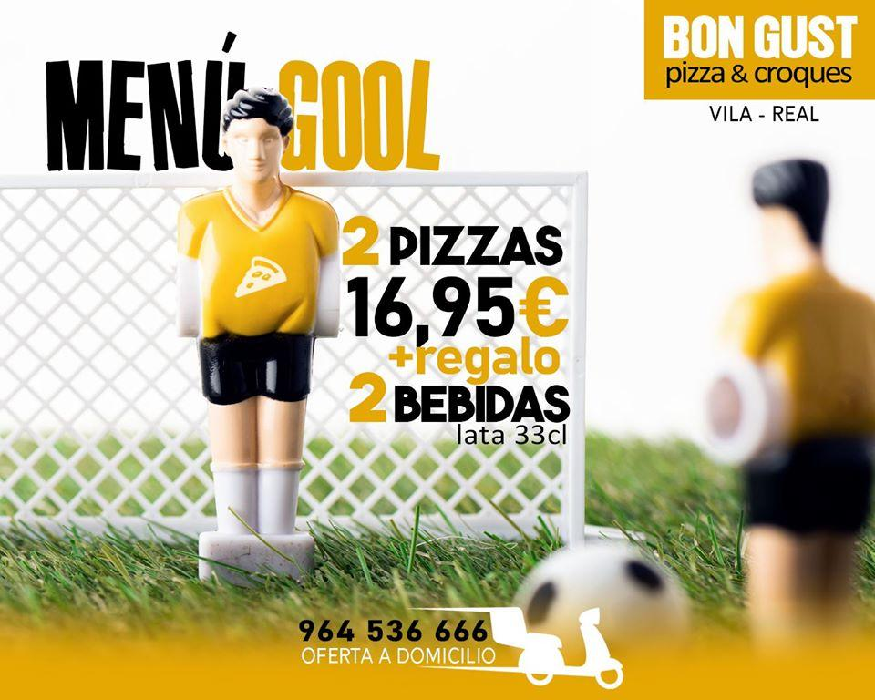 The advertisement shows information about Bon Gust Pizza & Croques