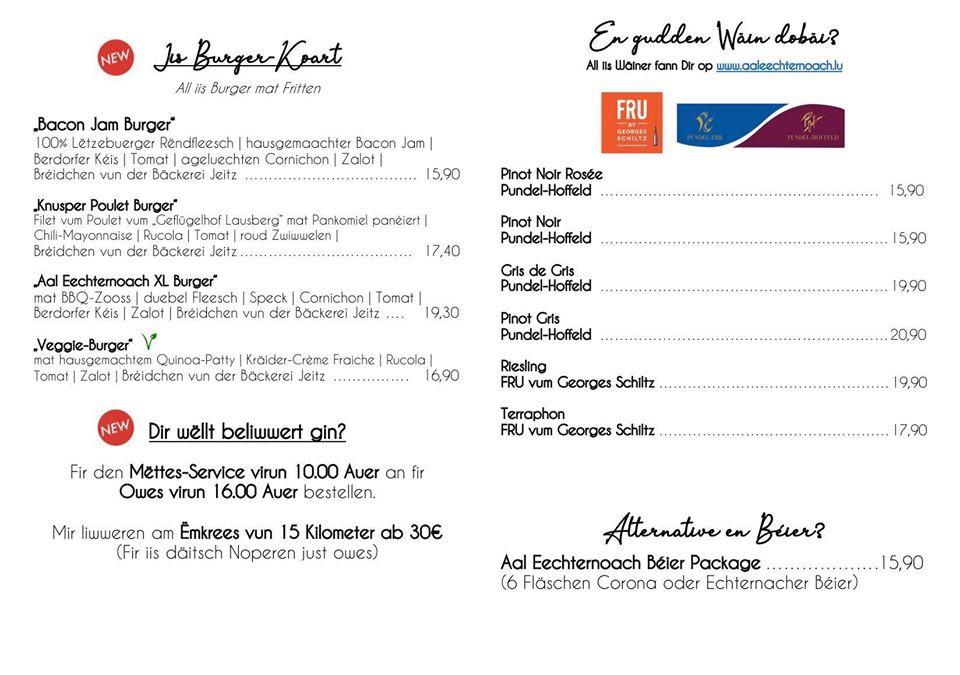 The menu of food or drink items available at Restaurant Aal Eechternoach