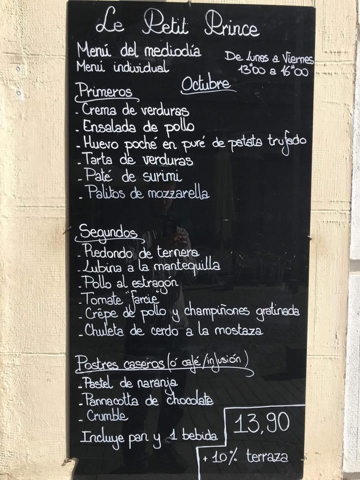 Le Petit Prince tiene su menú del día en una pizarra