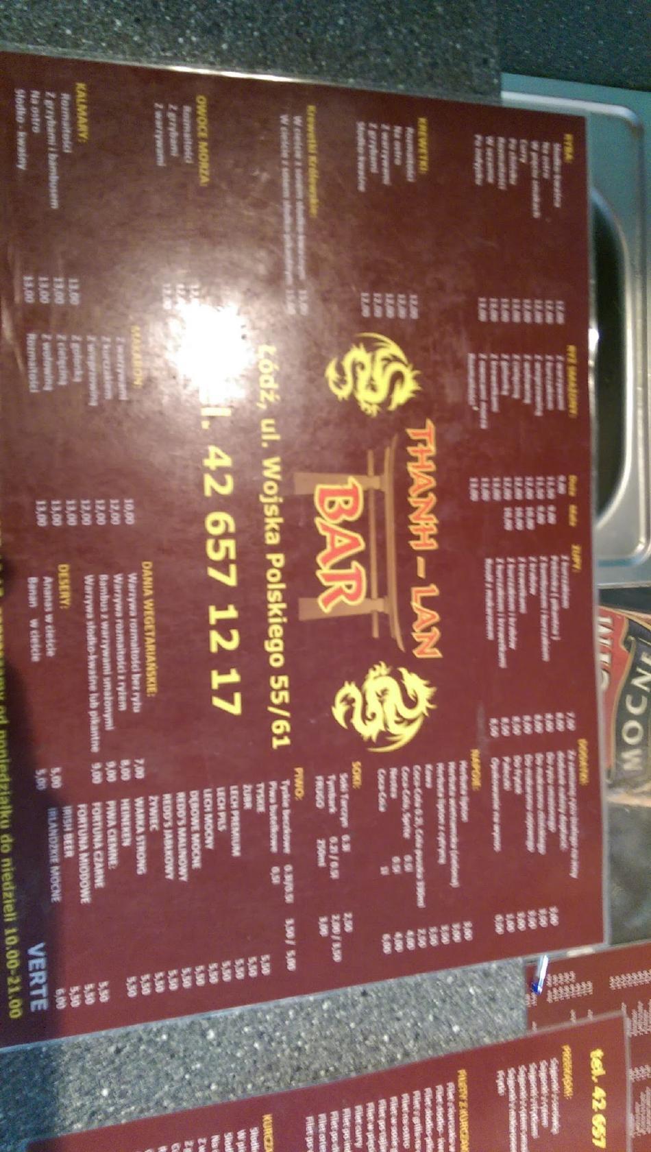 Menu At Thanh Lan Pub Bar Lodz