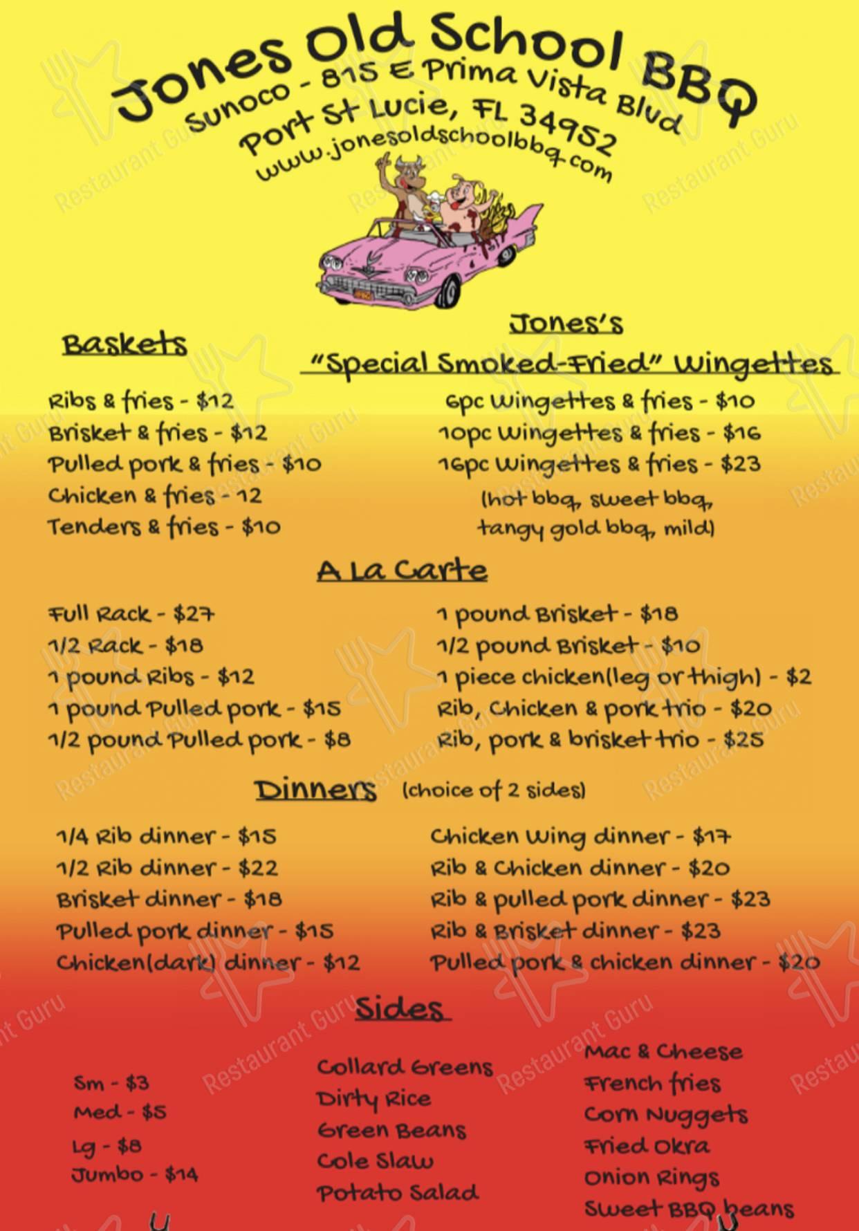 Jones Old School BBQ menu - dishes and beverages