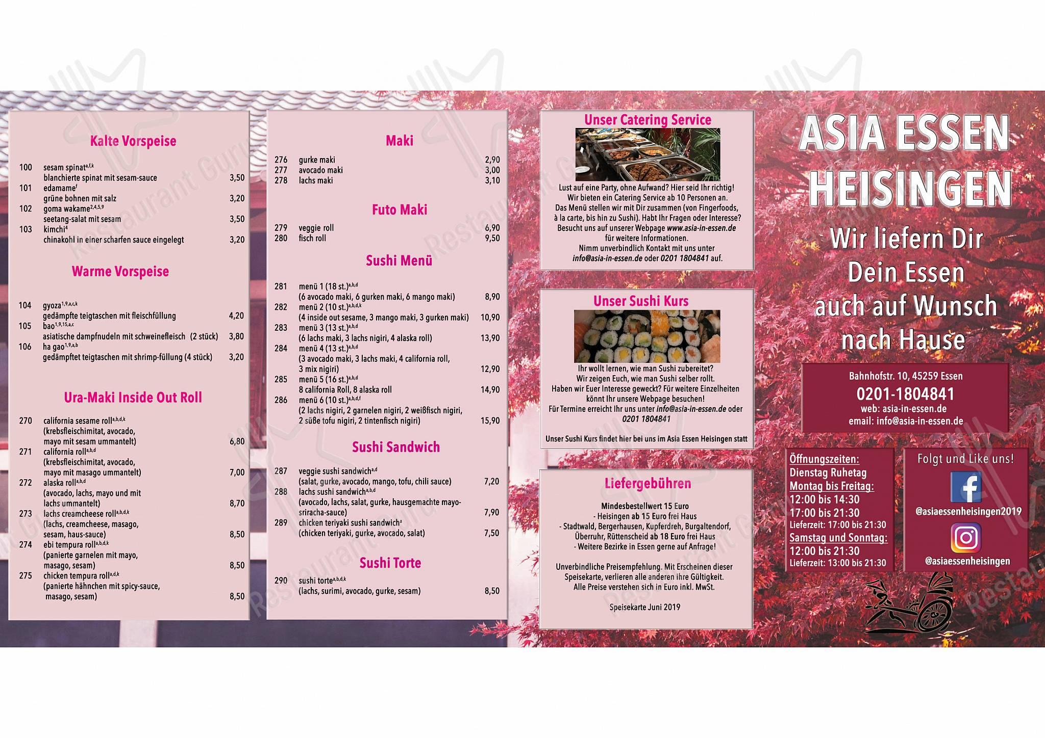 Menu for the Asia Essen Heisingen restaurant