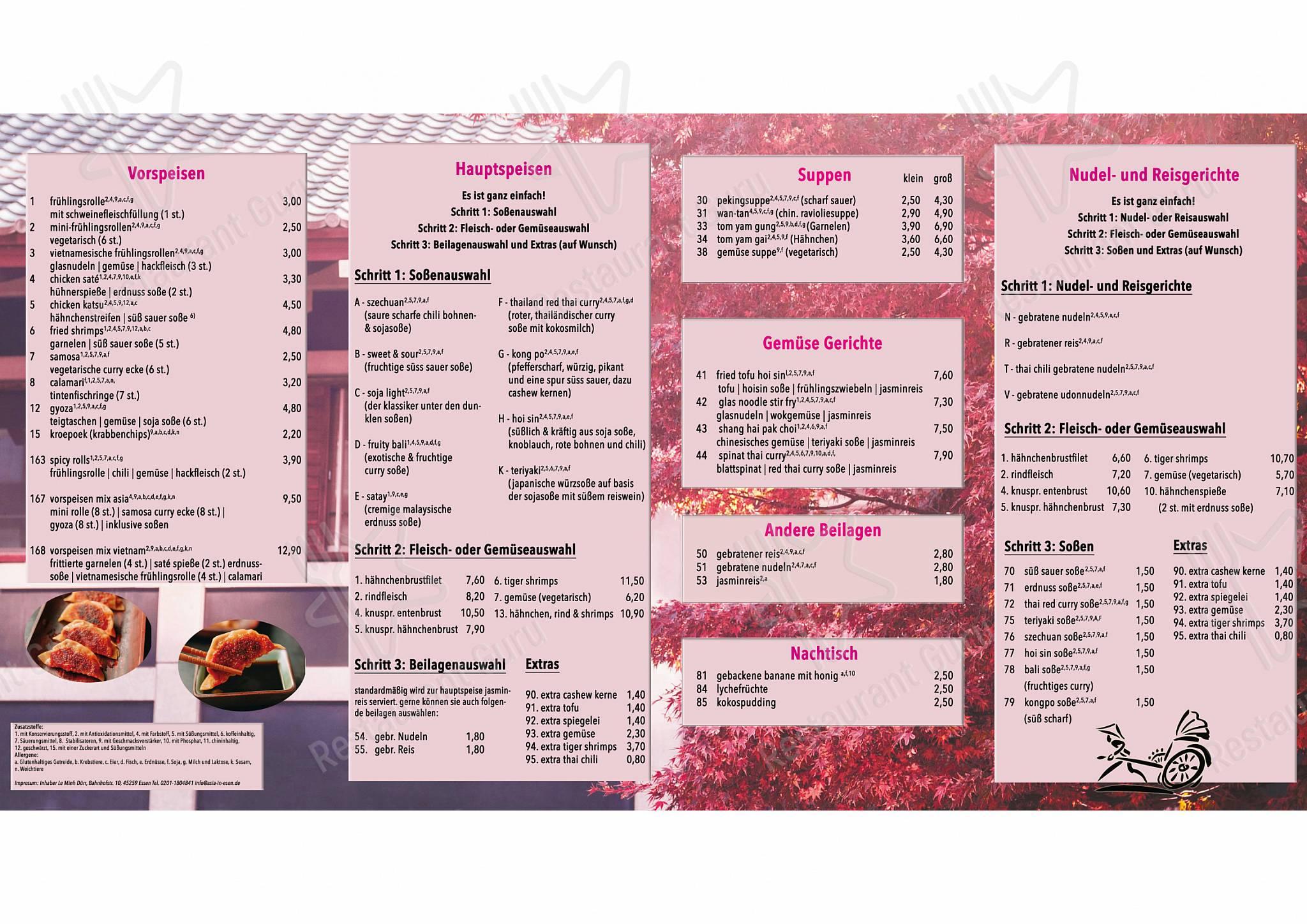 Asia Essen Heisingen menu - meals and drinks