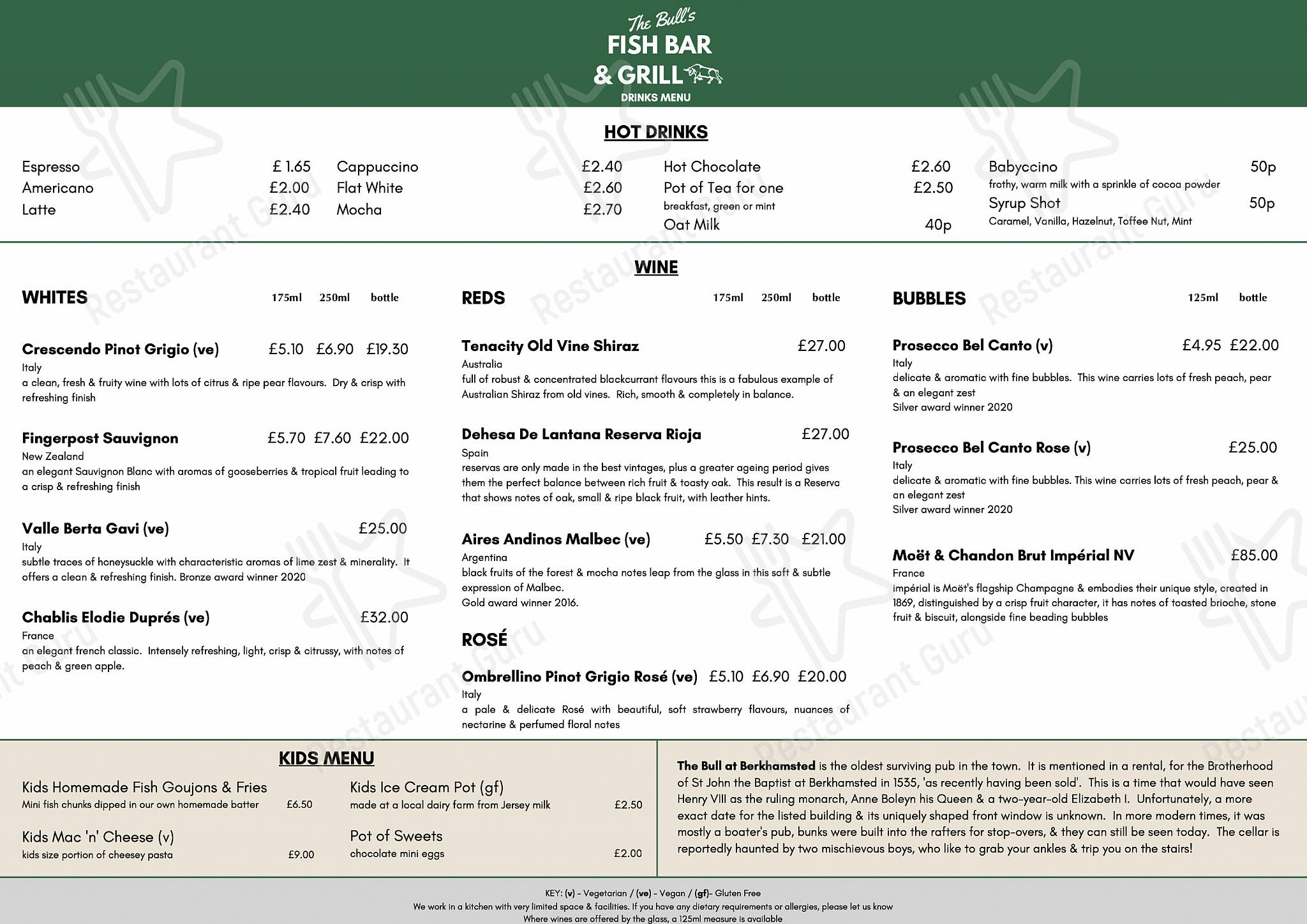 The Bull at Berkhamsted menu - meals and drinks