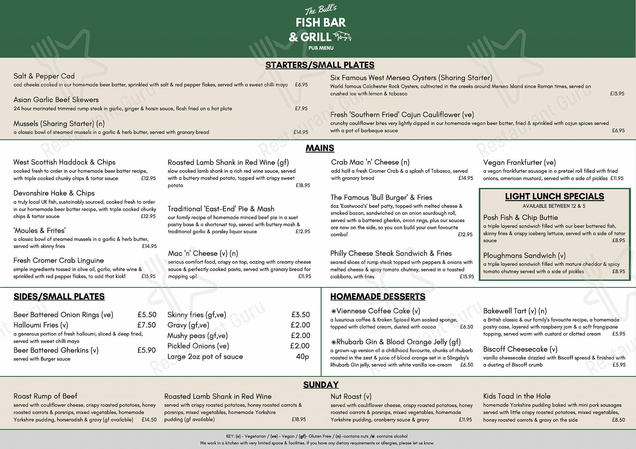 The Bull at Berkhamsted menu - dishes and beverages