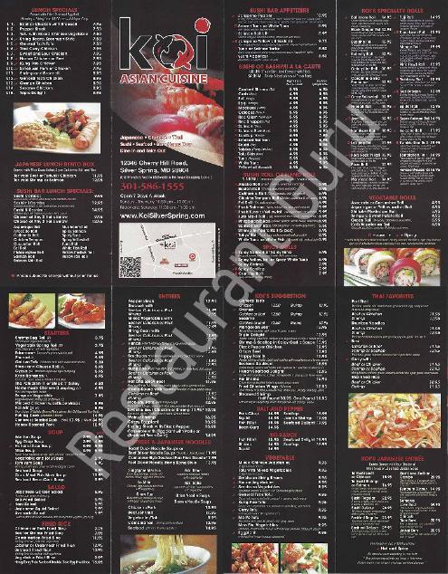 Menu At Koi Asian Cuisine Restaurant Silver Spring