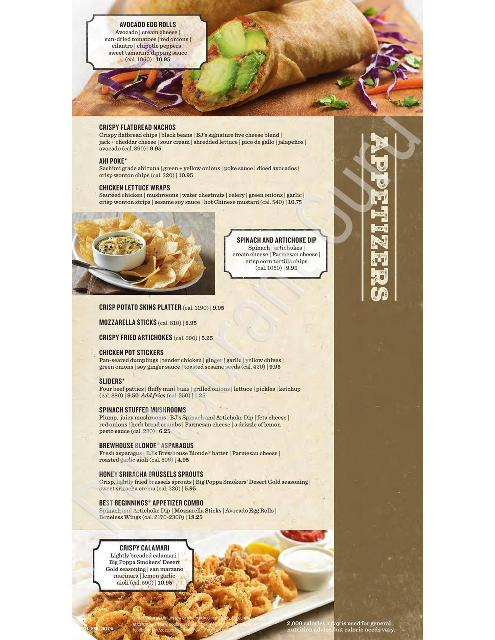 Menu At Bj S Restaurant Brewhouse Cedar Park