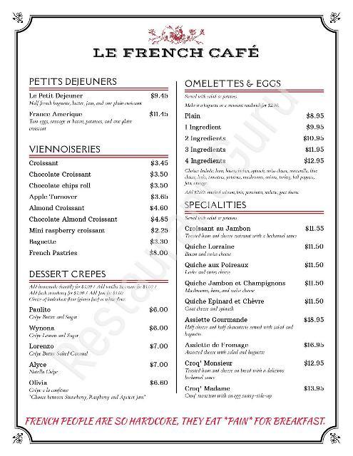 Menu At Le French Cafe Boulder