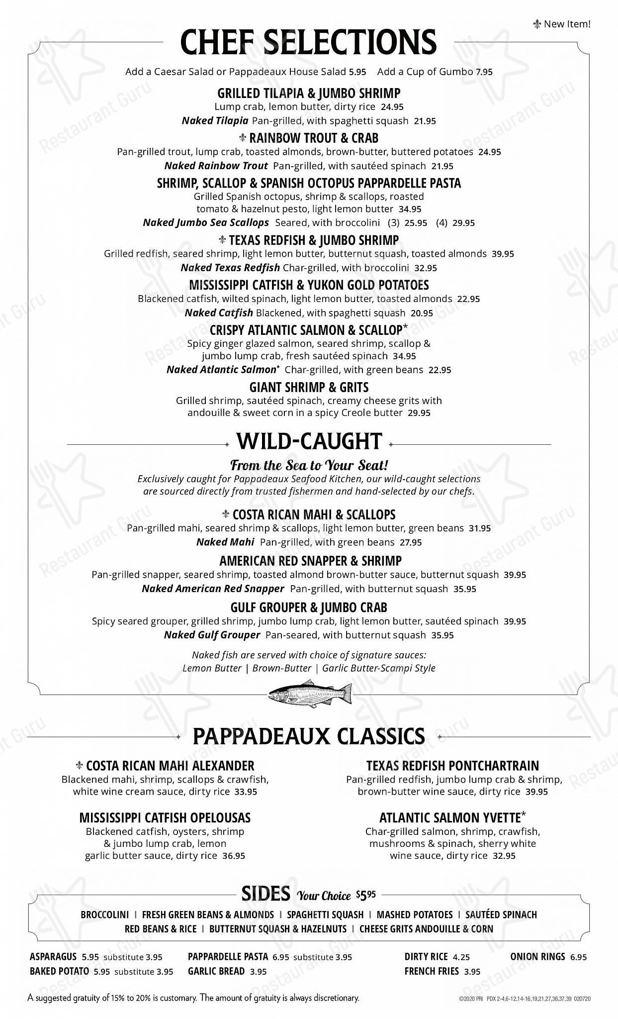 Menu at Pappadeaux Seafood Kitchen ...