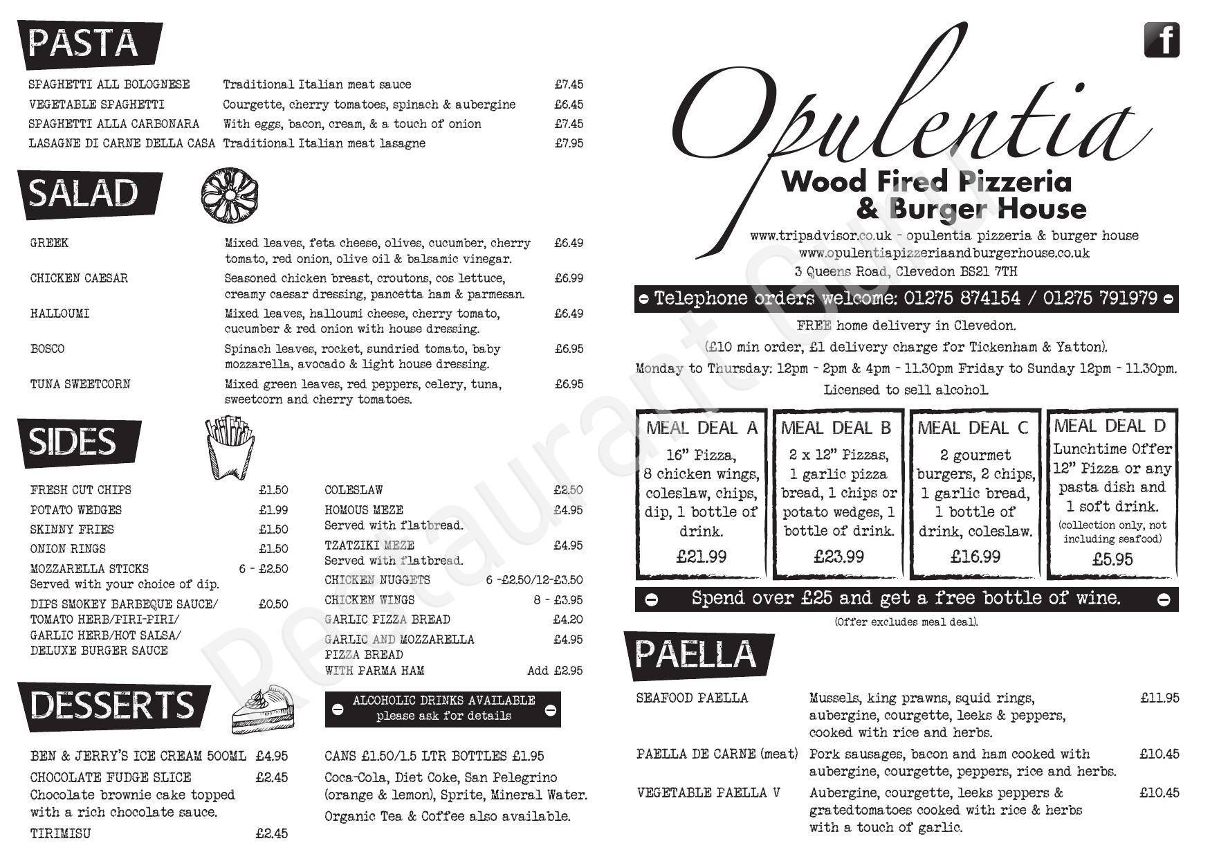 Menu Of Opulentia Pizzeria And Burger House Clevedon