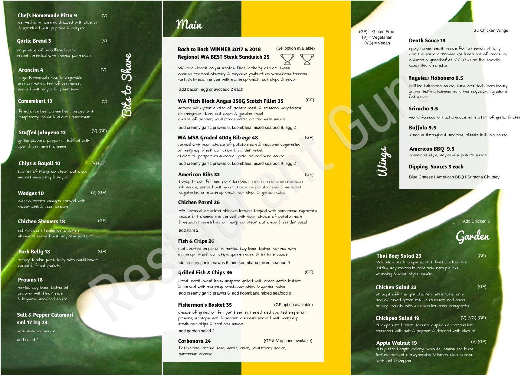 The Bayview Bar in Bunbury - Restaurant menu and reviews