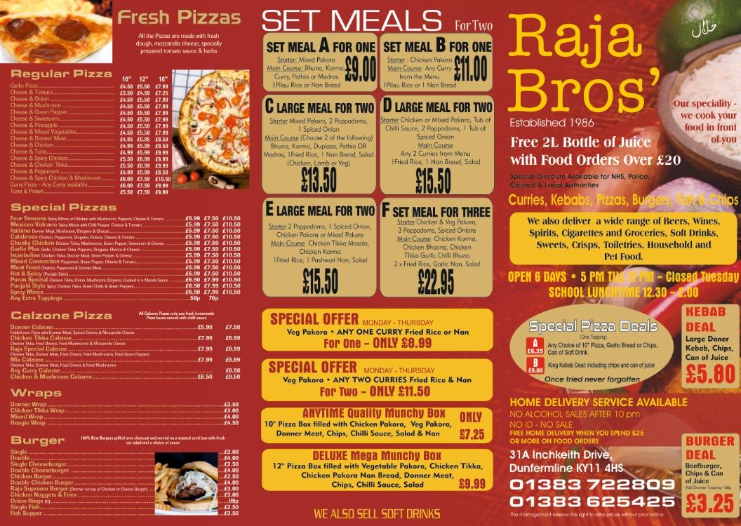 Raja Bros In Dunfermline Restaurant Menu