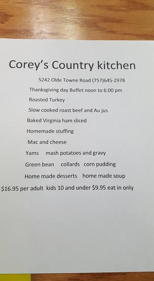 Coreys Country Kitchen 5242 Olde Towne Rd In Williamsburg Restaurant Reviews