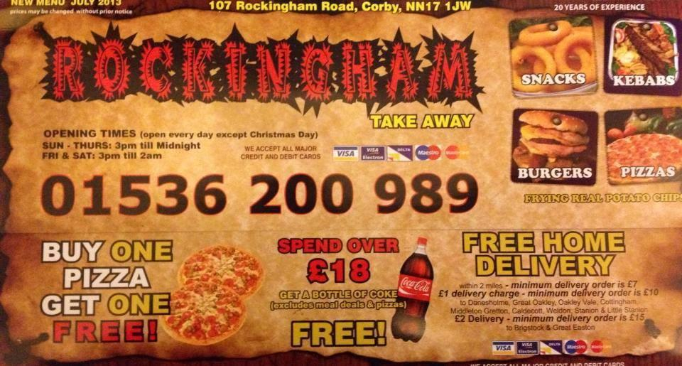 Rockingham Take Away In Corby Restaurant Menu And Reviews