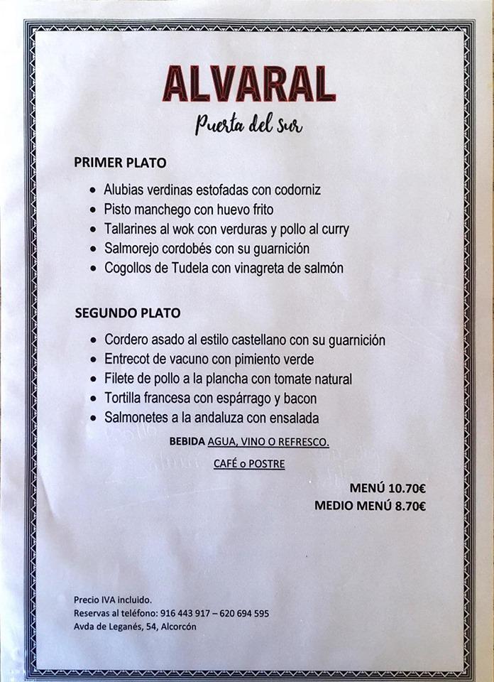 Alvaral Gastrobar 54 Alcorcón Carta Del Restaurante Y