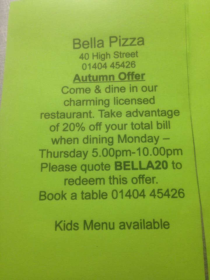 Bella Pizza 40 High St In Honiton Restaurant Menu And Reviews