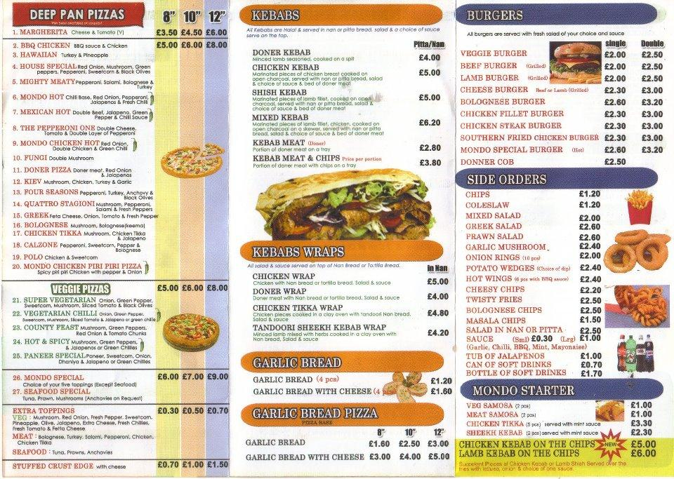 Pizza Mondo 4 The Parade In Oadby Restaurant Menu And Reviews