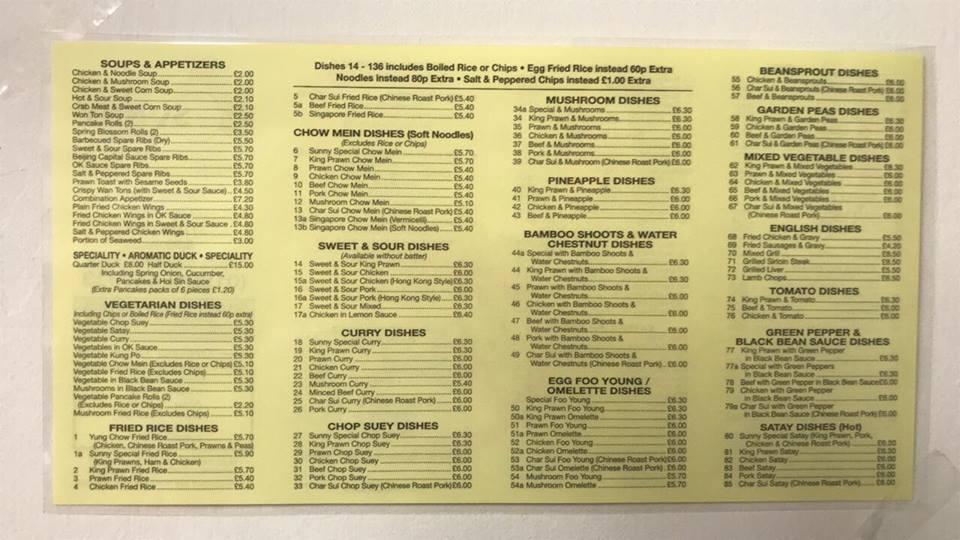 Sunny Chop Suey Centre In Batley Restaurant Menu And Reviews