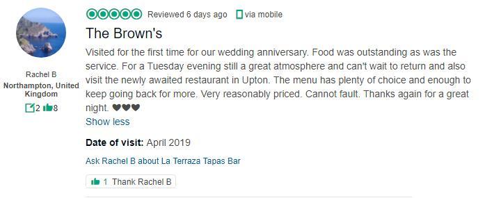 La Terraza Tapas Bar Wilks Walk 5 In Northampton